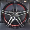 "15"" Onyx WMS08G Black Glossy & Polished Metal w Red Ring 10h"