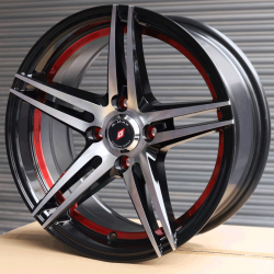 "15"" G-Max 28 Black Glossy & Polished Metal w Red ring"