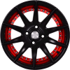 "15"" Flying Eagle XJ147 Black Machined Red Lip"
