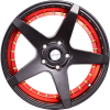 "17"" Flying Eagle XJ172 Black Machined Red Lip"